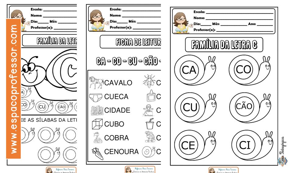 Atividade de Alfabetização para baixar letra C