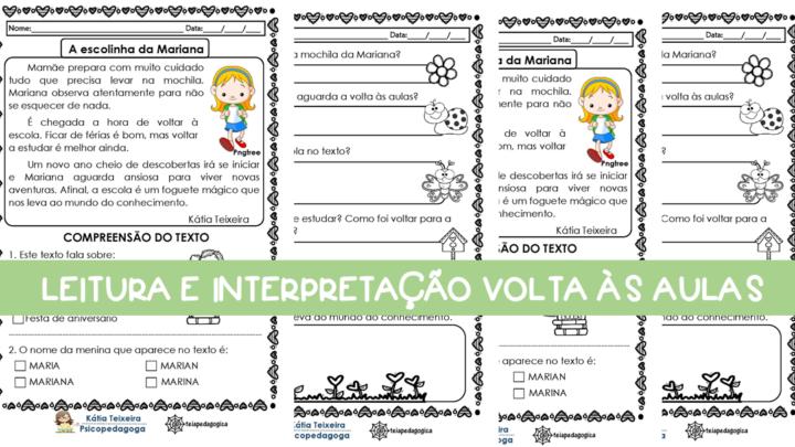 A escolinha da Mariana – Texto para trabalhar na volta às aulas