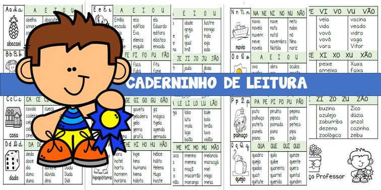 Caderno de leitura com sílabas simples para baixar
