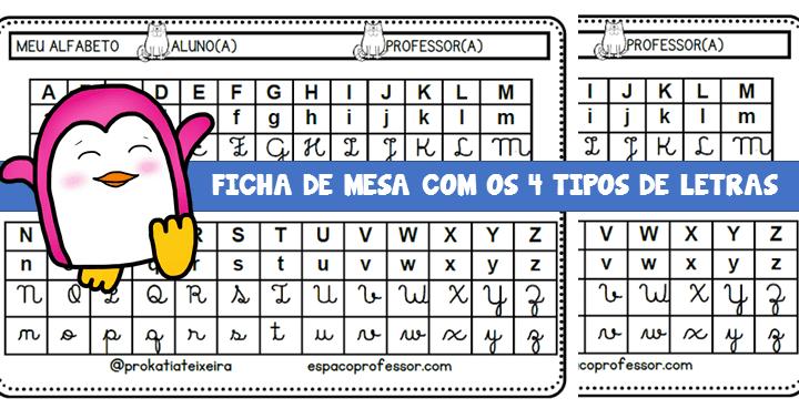 Ficha de mesa com os 4 tipos de letras.