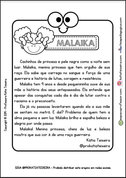 Consciência Negra texto Malaika