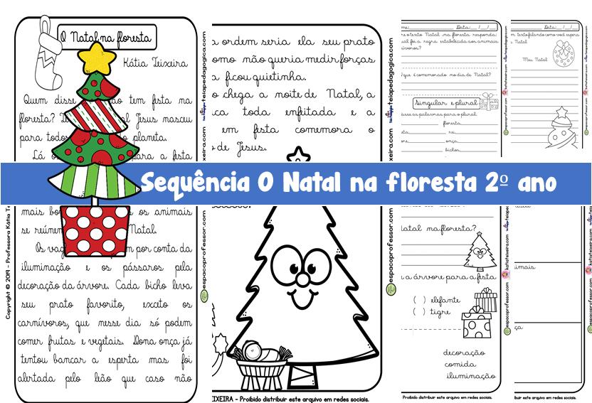 Sequência de atividades O Natal na Floresta 2ºano letra cursiva
