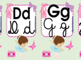 Alfabeto tema bailarina com 4 tipos de letras