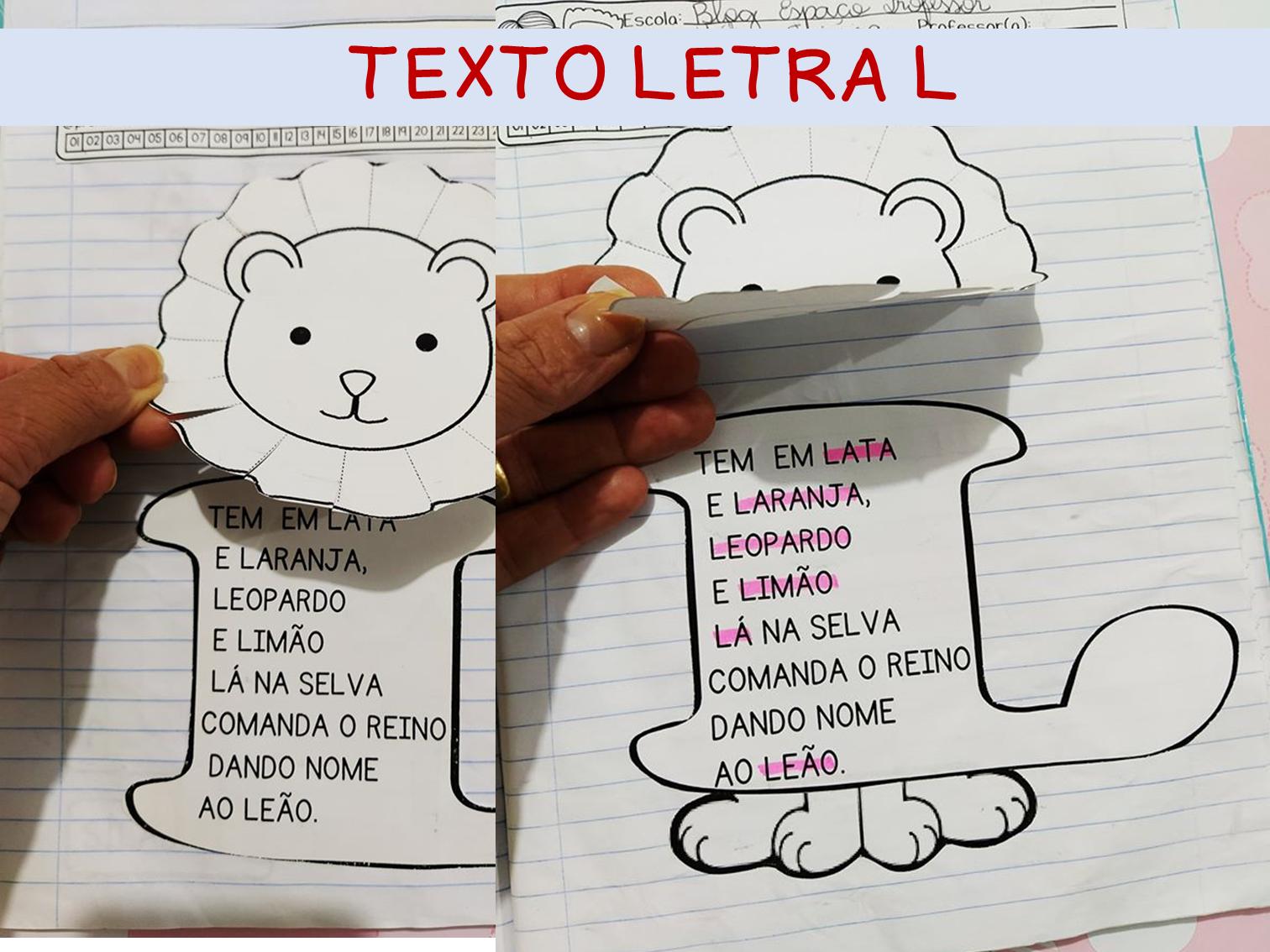 Atividade interativa letra L. Alfabetização letra L.