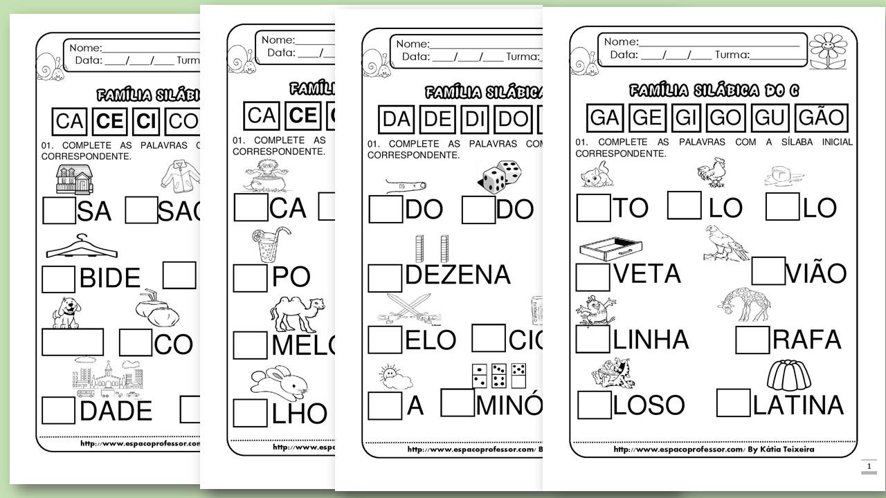 Atividades sílaba inicial letras B, C, D, F, G