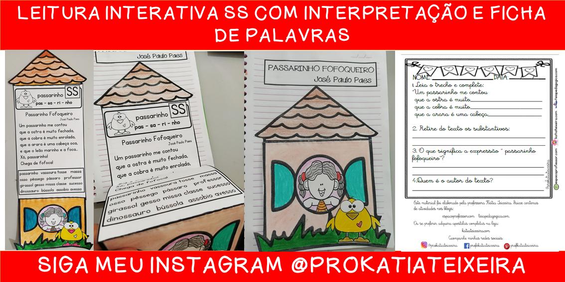 Leitura interativa SS com interpretação e ficha de palavras