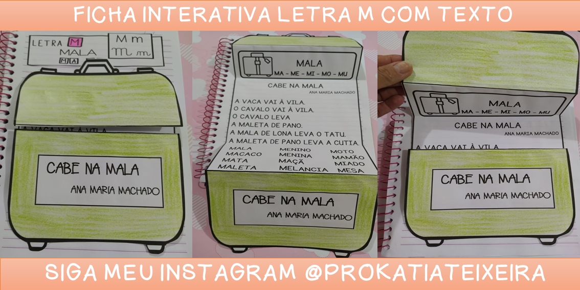Ficha de leitura interativa letra M com texto e palavras