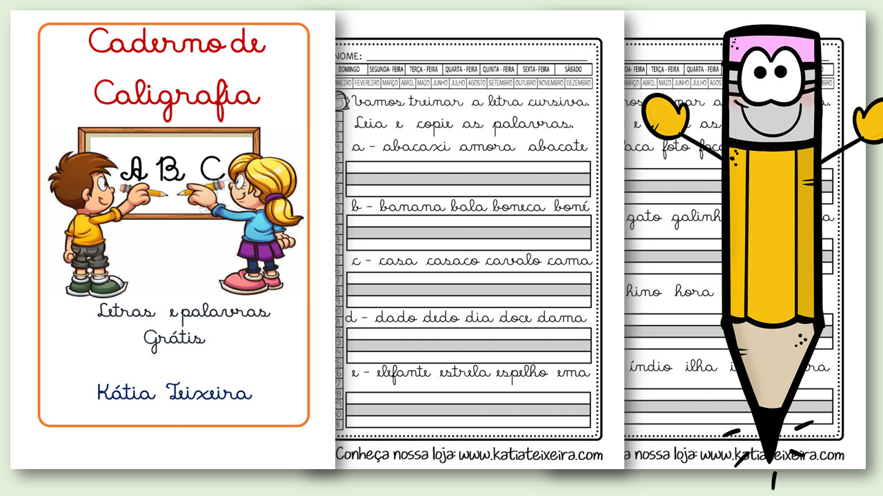 Caderno de Caligrafia grátis letras e palavras em pdf