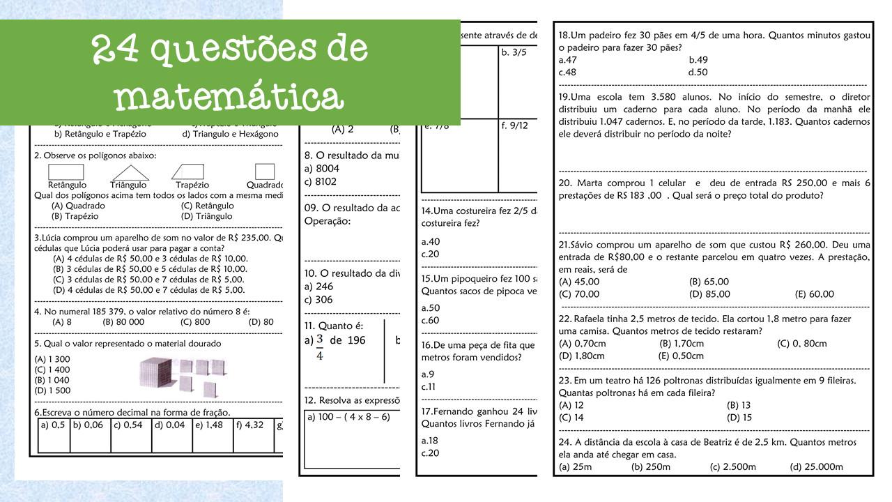 24 Questões de matemática 3º e 4º anos