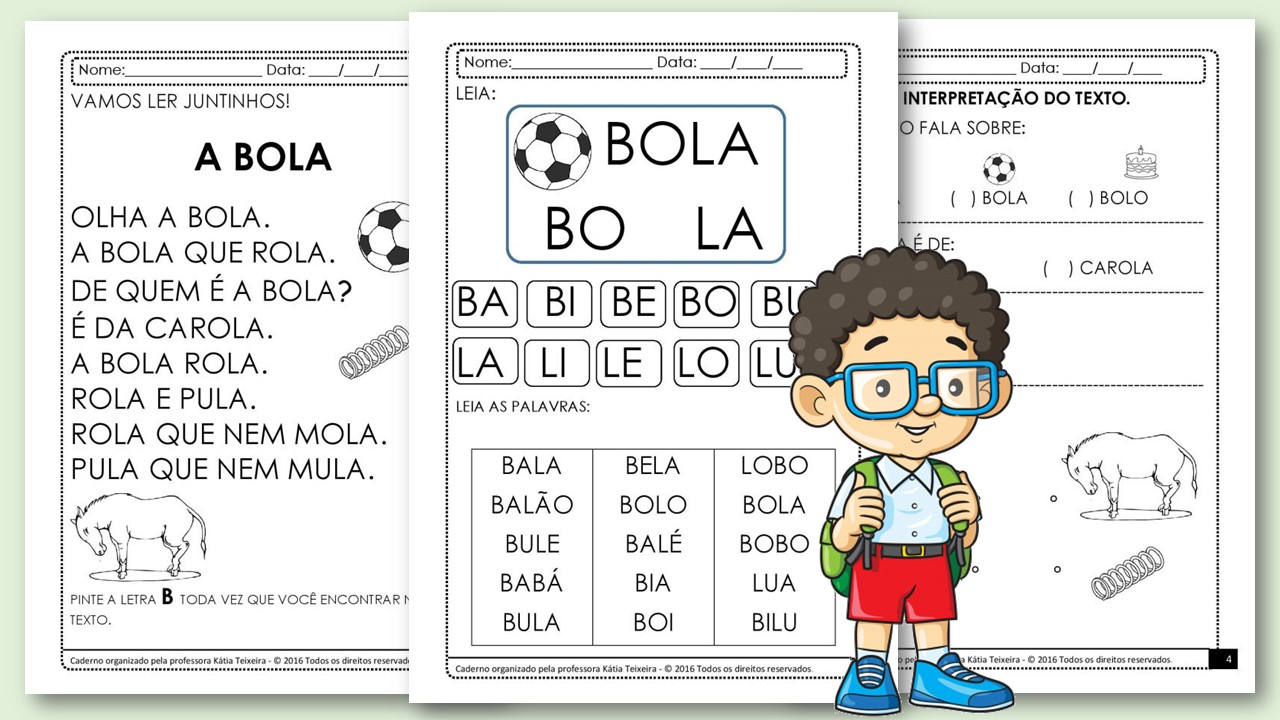Projeto de alfabetização palavra Bola