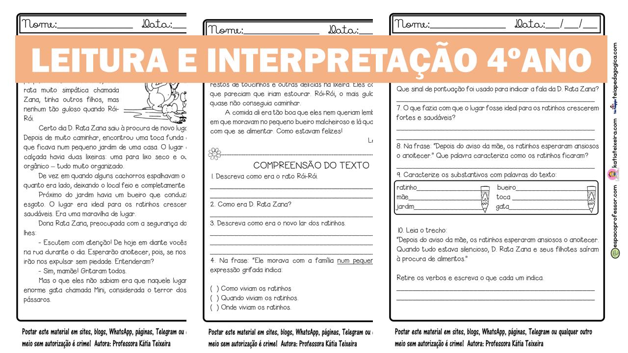 Atividade de leitura e interpretação 4º ano em pdf