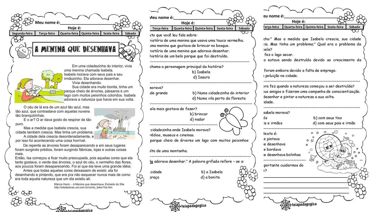 Atividades A Menina que Desenhava em PDF