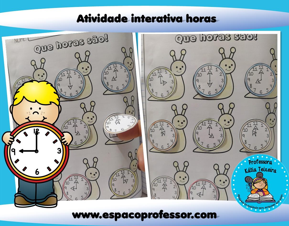 Atividade para ensinar as horas – Atividade interativa