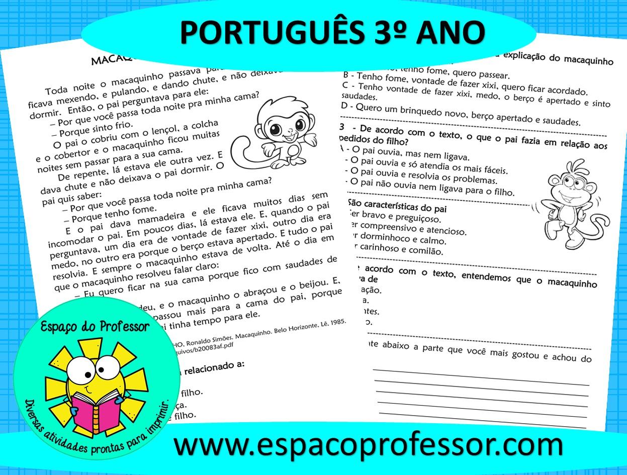 Atividade de português 3º ano – Interpretação de texto 1