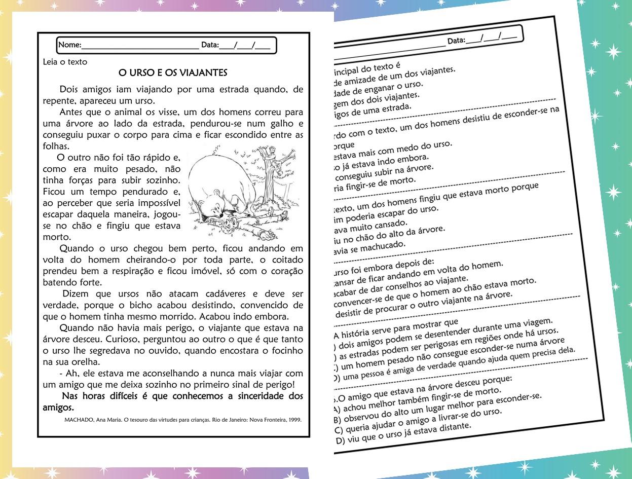 Atividades de leitura e interpretação 5º ano O Urso e os viajantes