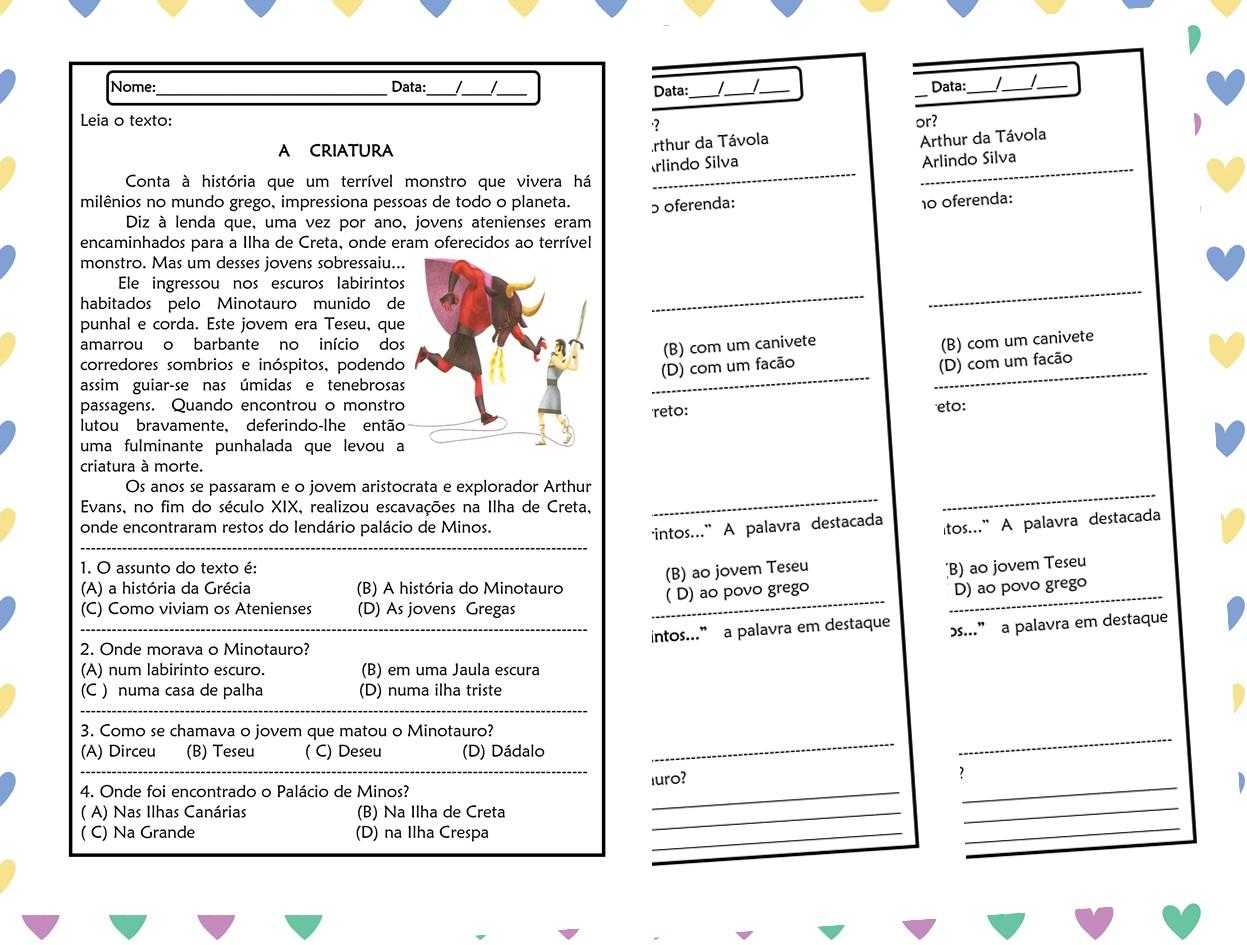 Atividades de português 4º ano interpretação de texto
