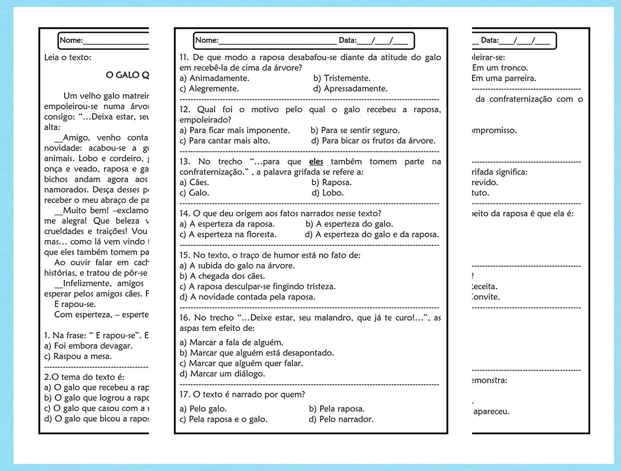 Atividades de leitura e interpretação 5º ano em word
