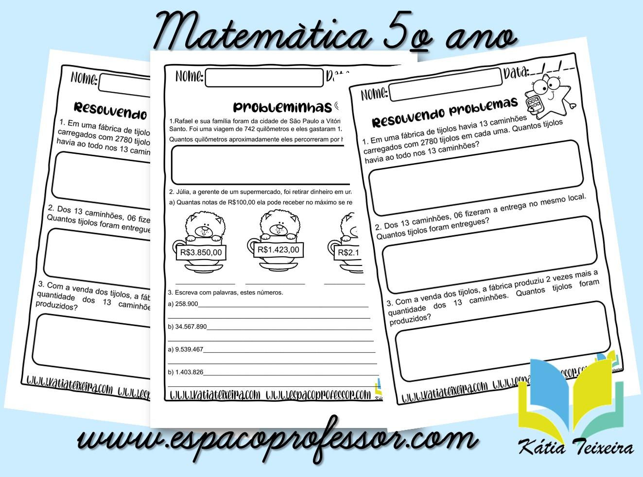 Atividades de matemática 5º ano – problemas e escrita literal