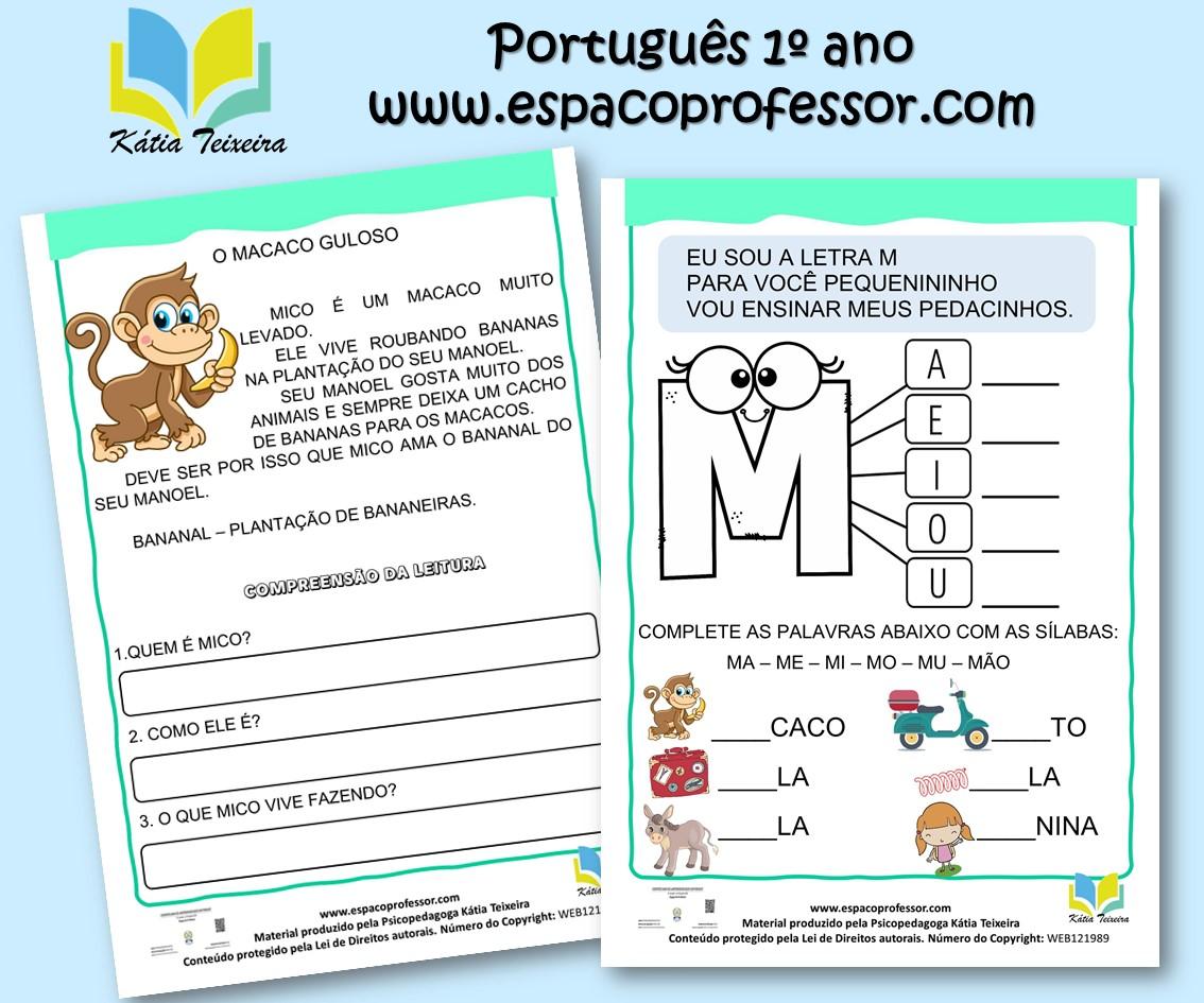 Atividade de português 1º ano – leitura e interpretação letra M