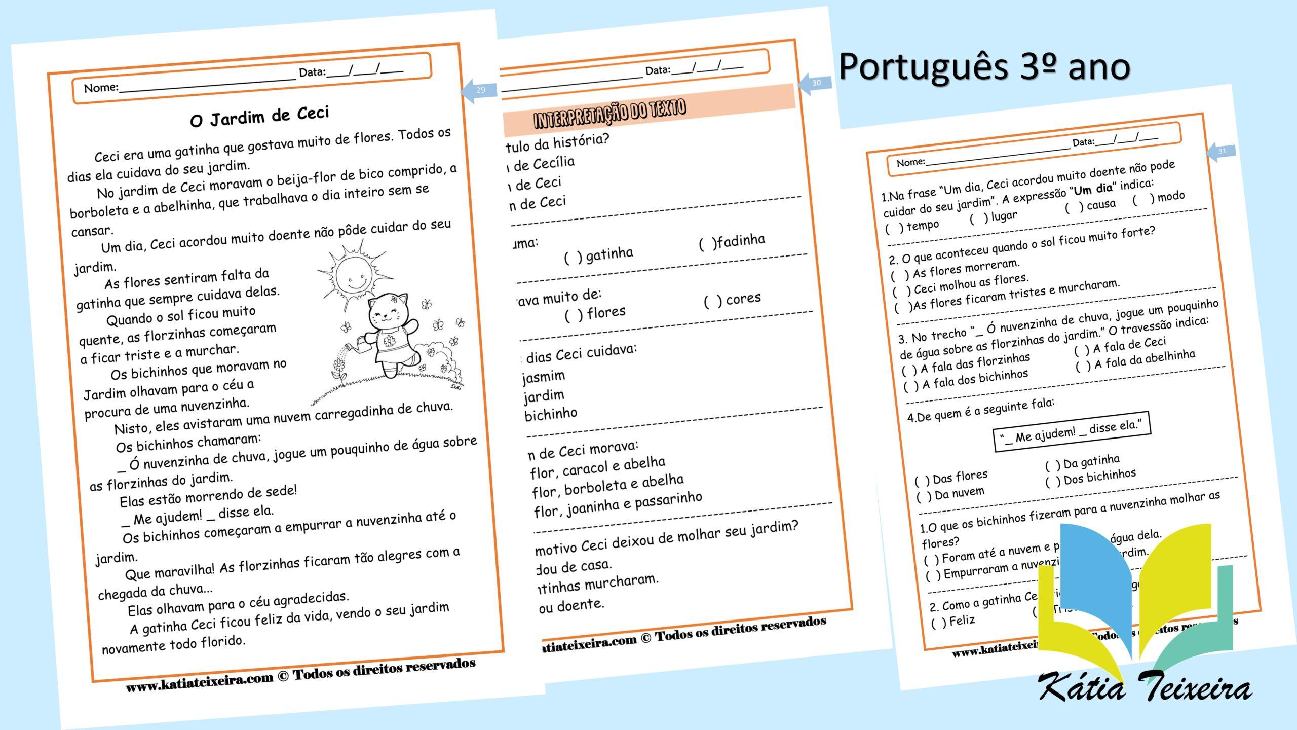 Atividade de português 3º ano: Leitura e interpretação O jardim de Ceci