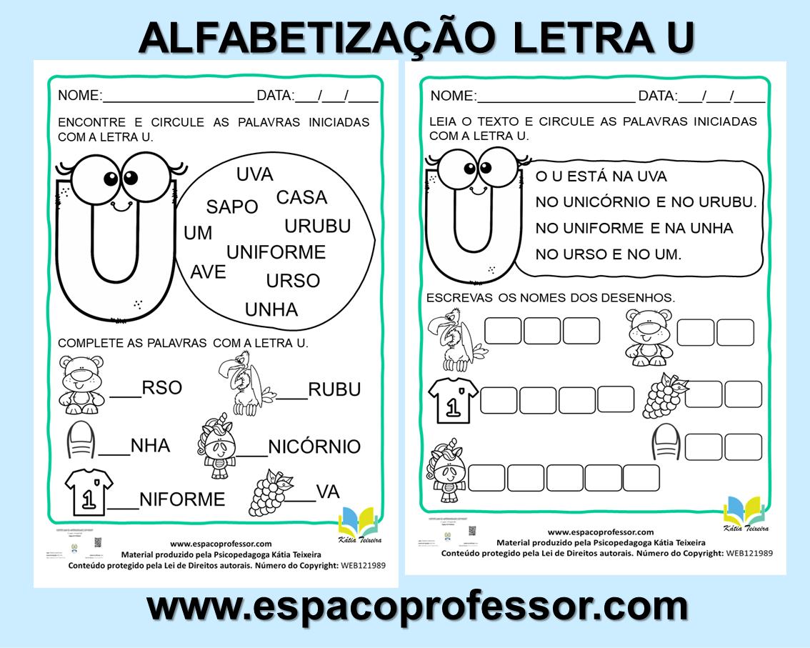 Atividades 1ºano- Atividades de alfabetização letra U