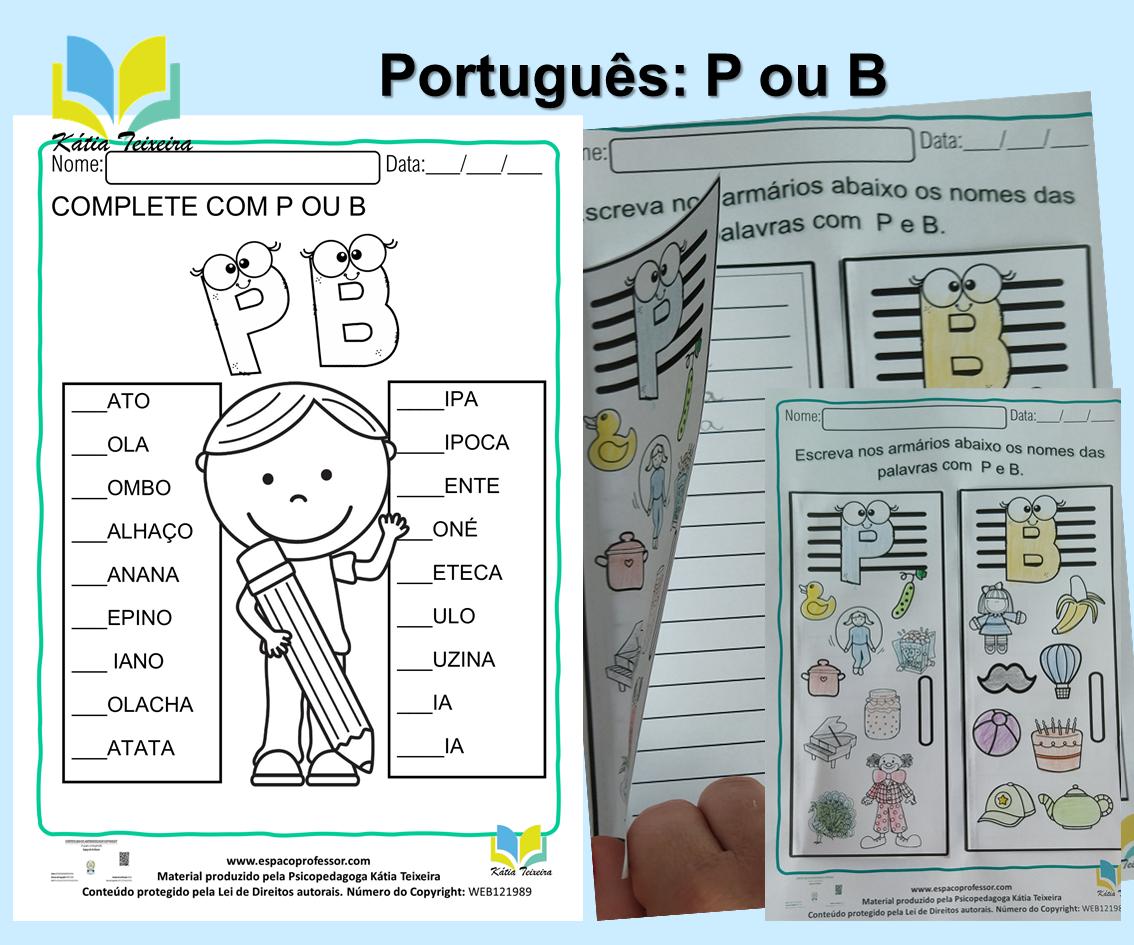 Atividade de ortografia P ou B  – atividade de alfabetização