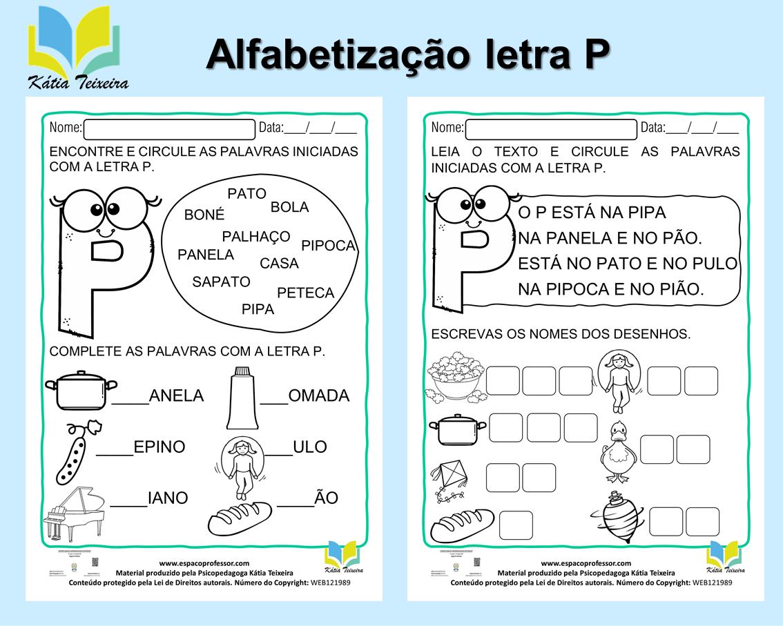 Atividade de português 1º ano: alfabetização letra P – 01