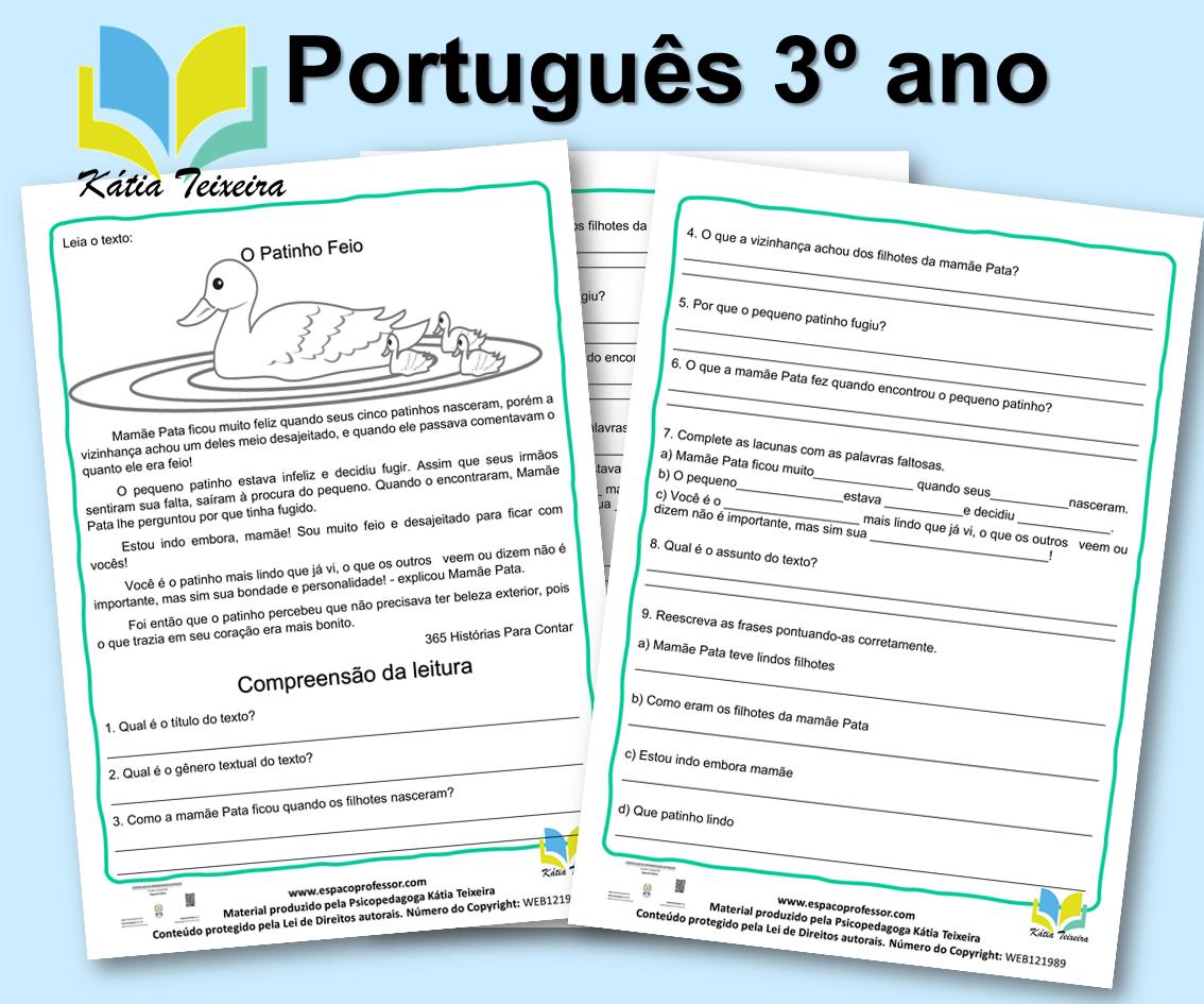 Atividade de português 3º ano: Leitura O Patinho Feio
