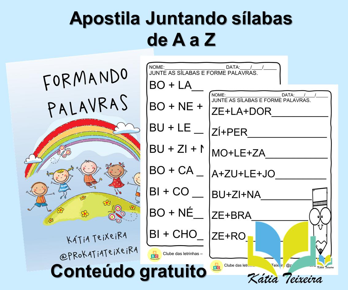 Apostila de atividades de alfabetização Juntando sílabas