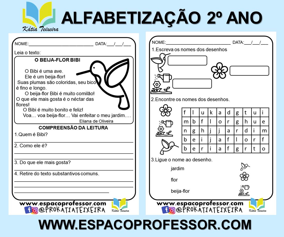 Atividade de alfabetização 2º ano: Interpretação O beija-flor Bibi PDF