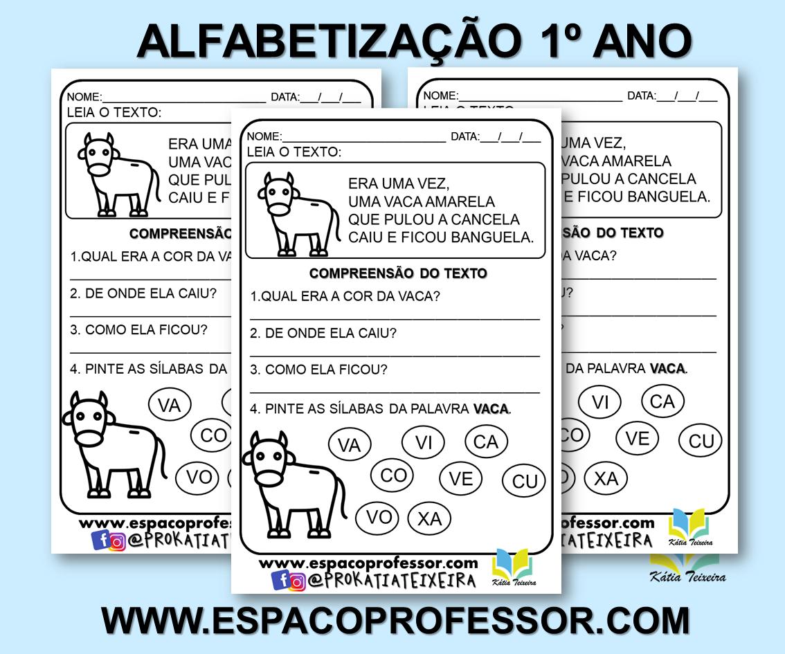 Atividade português 1º ano alfabetização para imprimir
