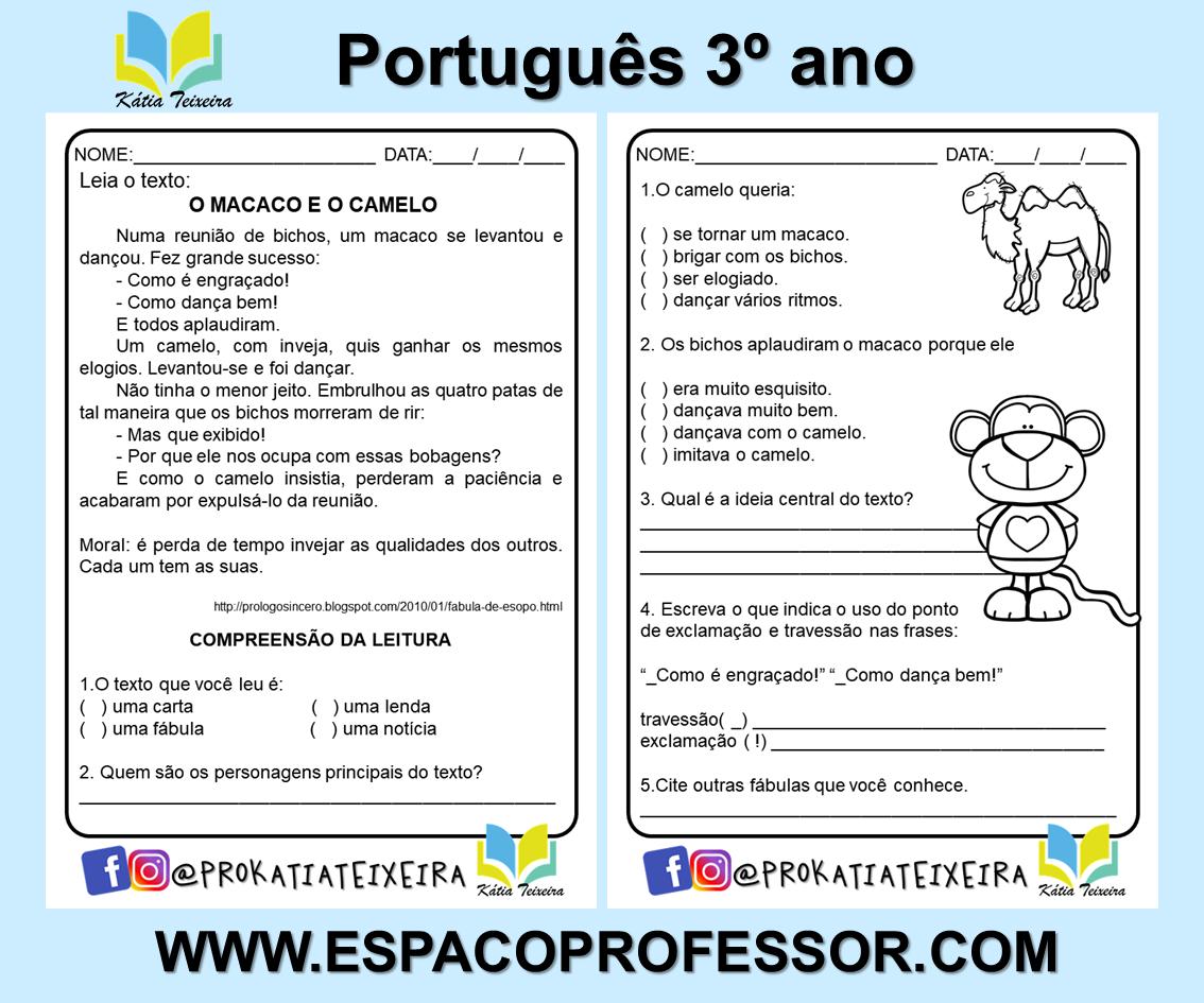 Atividade de português 3º ano: fábula o macaco e o camelo