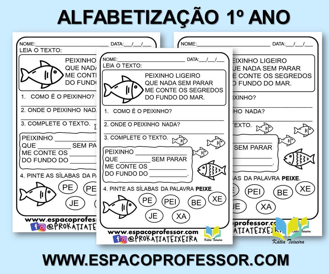 Atividade de alfabetização 1º ano Peixinho ligeiro – atividade de português
