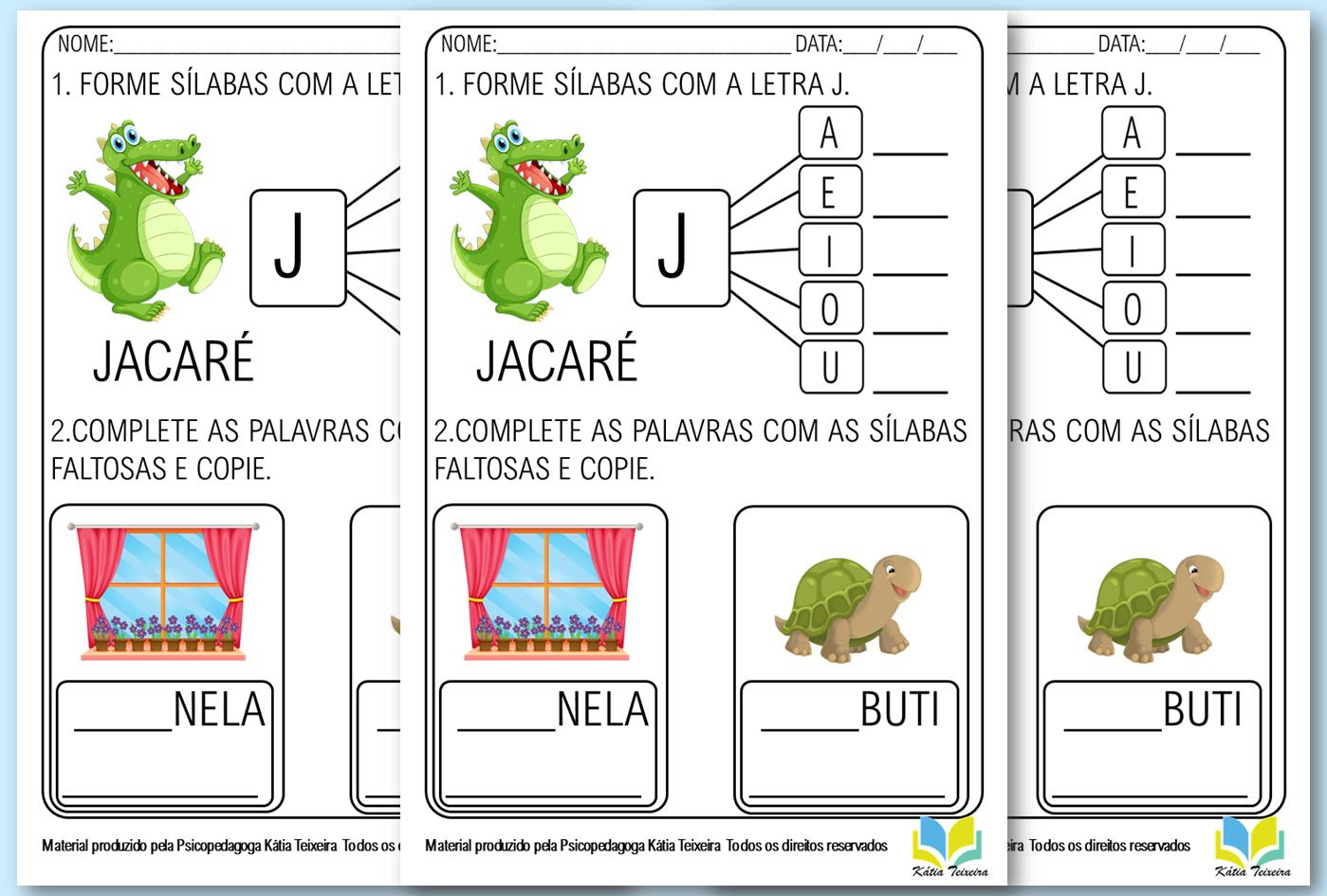 Atividades De Alfabetização Letra J PDF pronta para imprimir