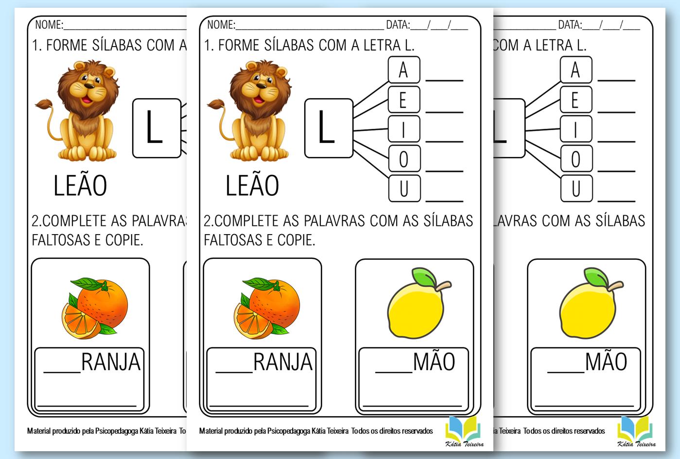 Atividade de alfabetização letra L pronta para imprimir PDF