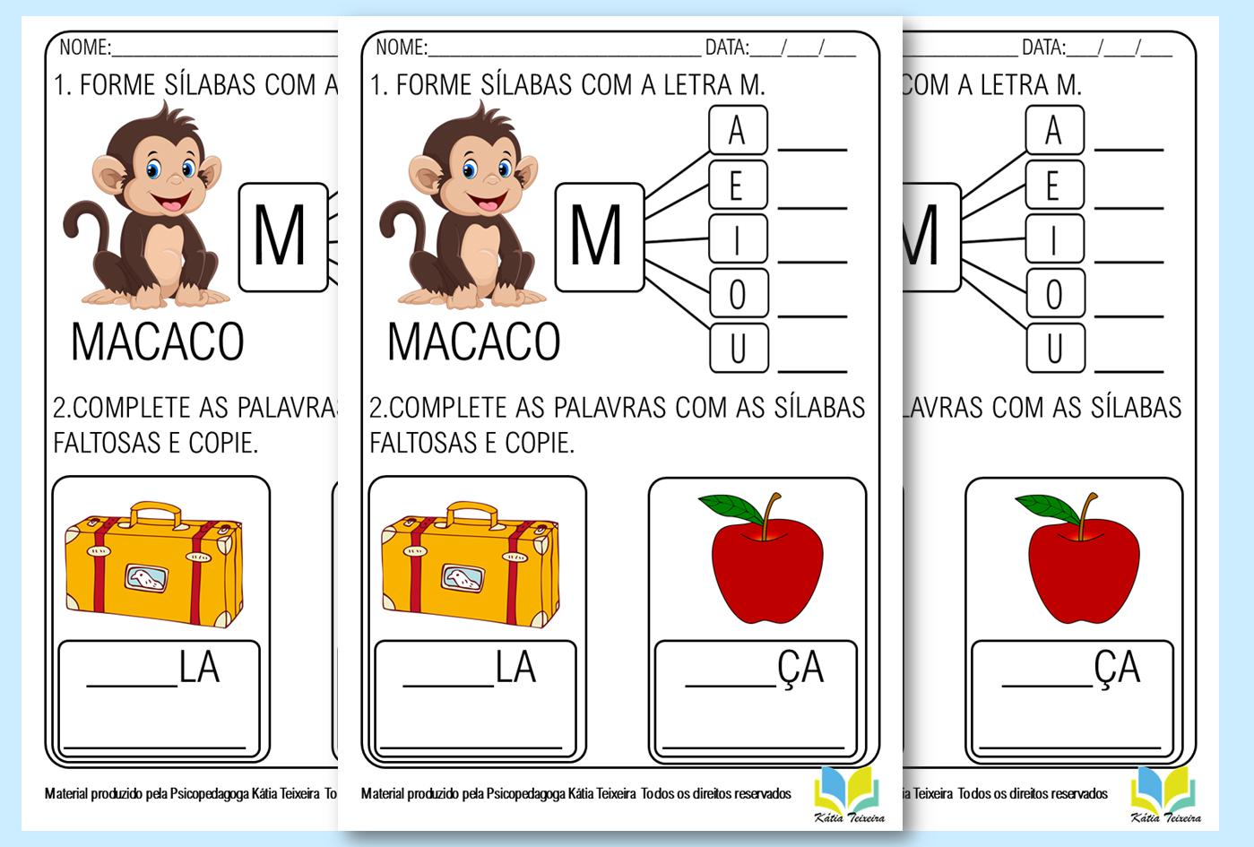 Atividade de alfabetização para imprimir – letra M em PDF