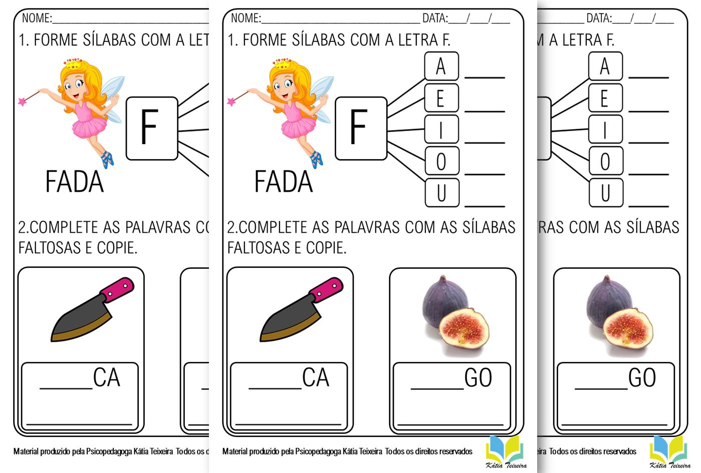 Atividade de alfabetização letra F  em PDF para imprimir