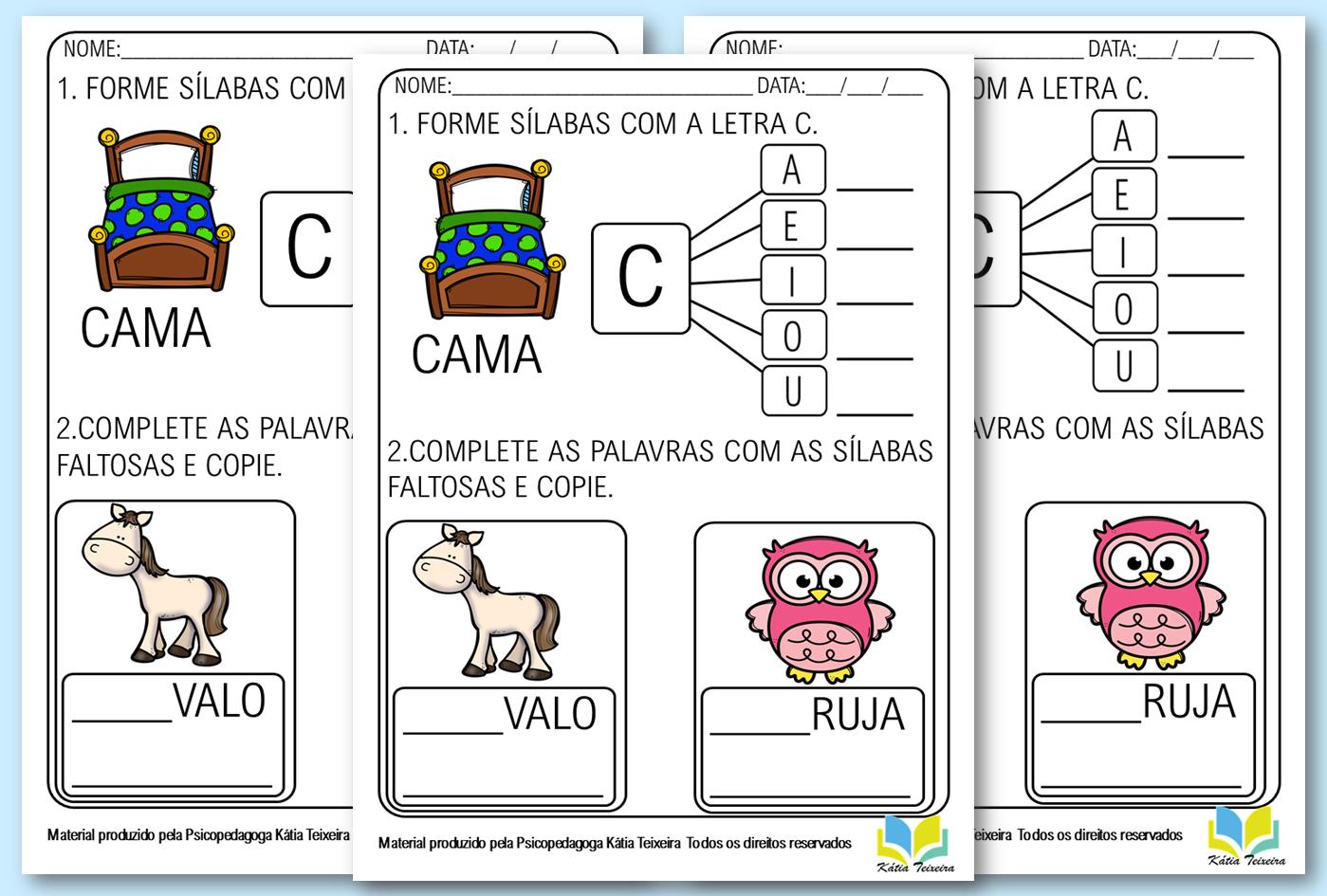 Atividades de alfabetização letra C em PDF para imprimir