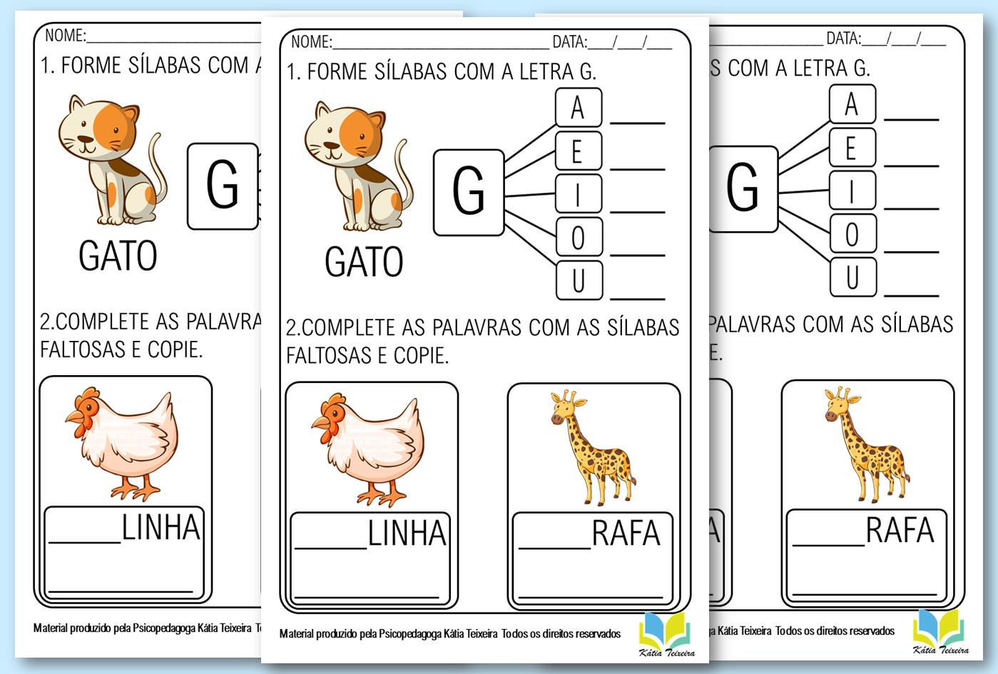Atividades de alfabetização letra G em PDF para baixar
