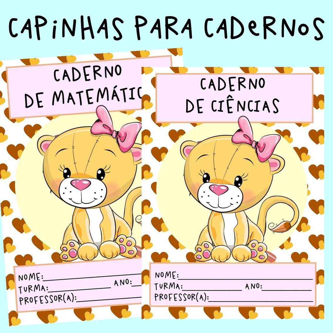 Capinhas para cadernos dos alunos em PDF coloridas menina