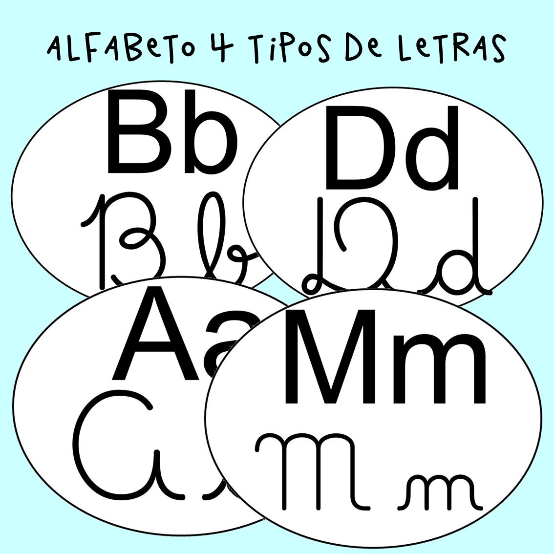 Alfabeto com 4 tipos de letras – Tags para alfabeto de parede