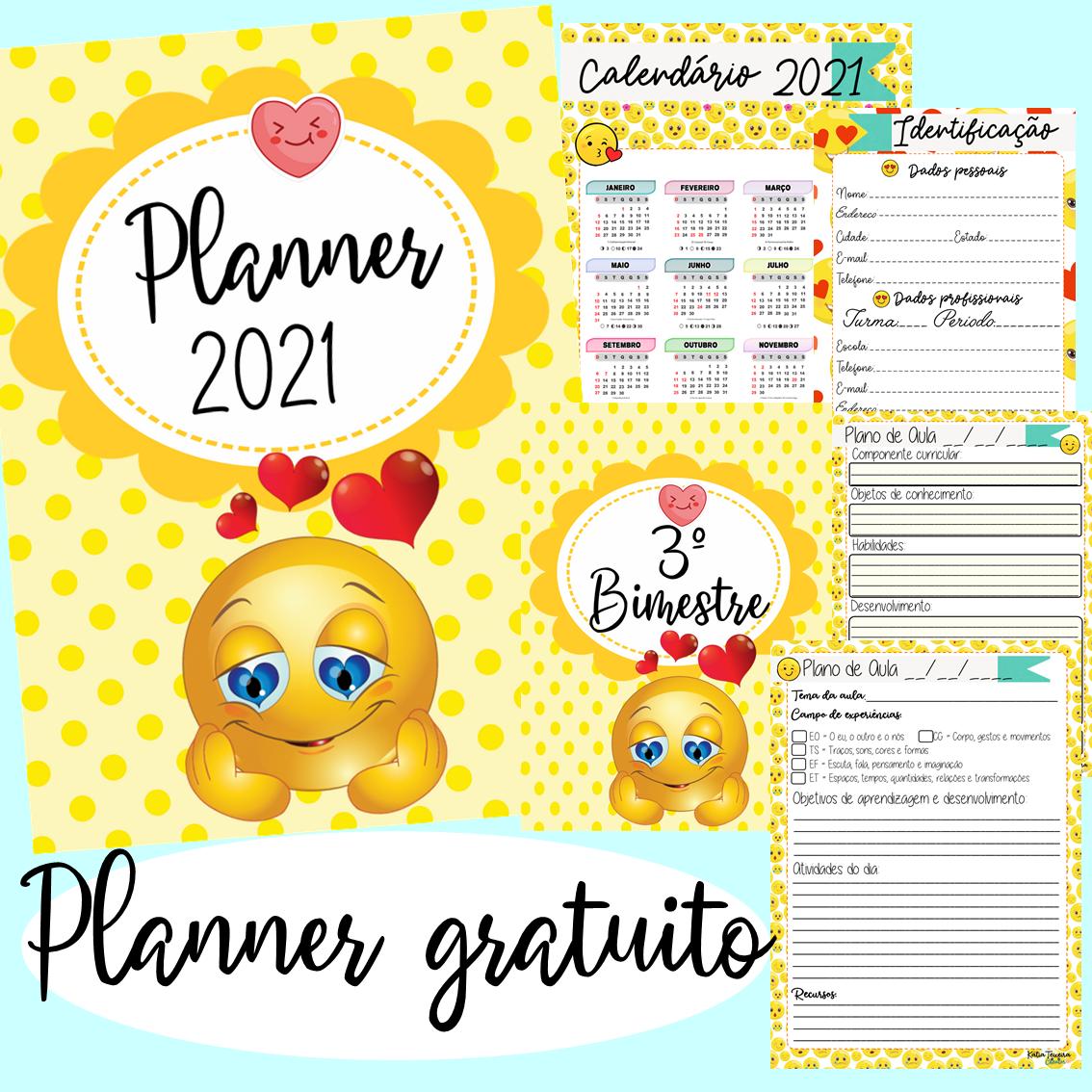 Planner Emoji para professor 2021 em PDF grátis