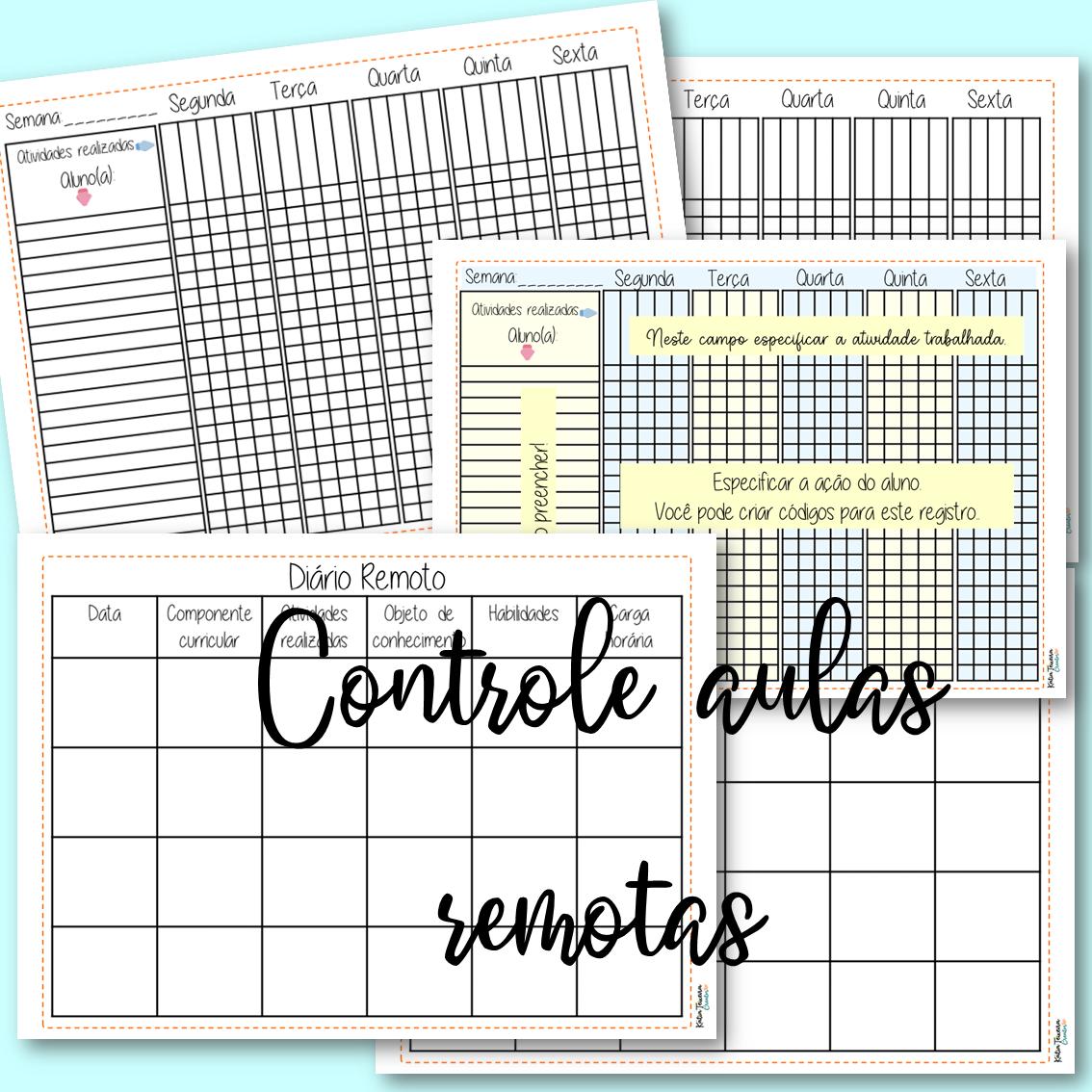 Fichas de controle para aulas remotas