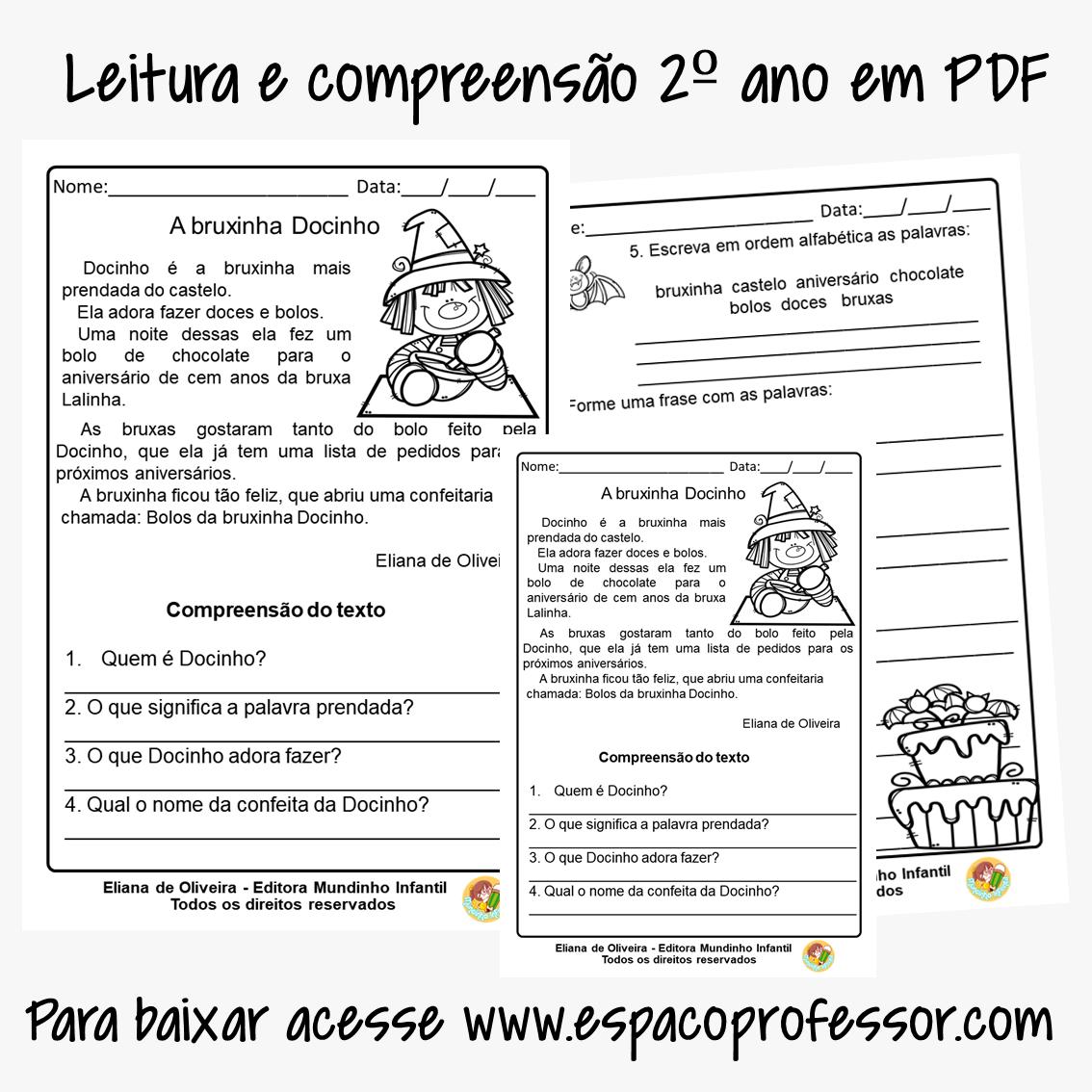 Atividades de alfabetização 2º ano com pequeno texto em PDF