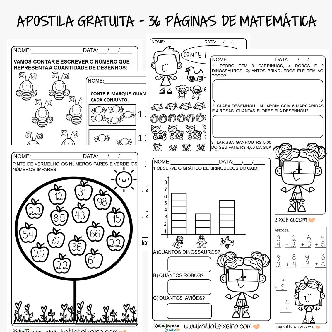 Apostila gratuita em PDF – 36 Atividades de matemática para alfabetização