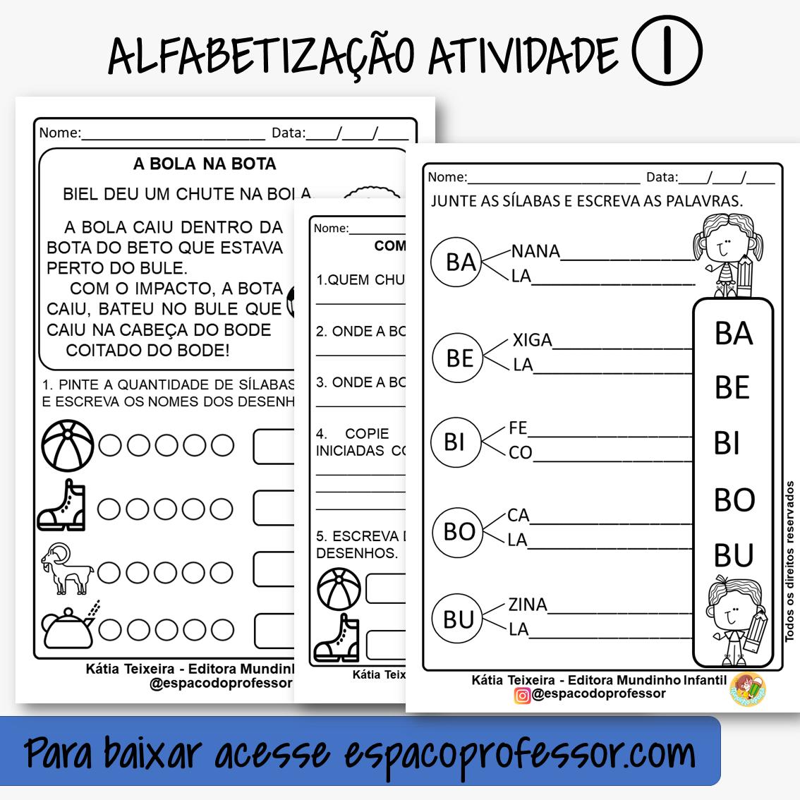 Atividade de Alfabetização com pequeno texto em PDF letra B