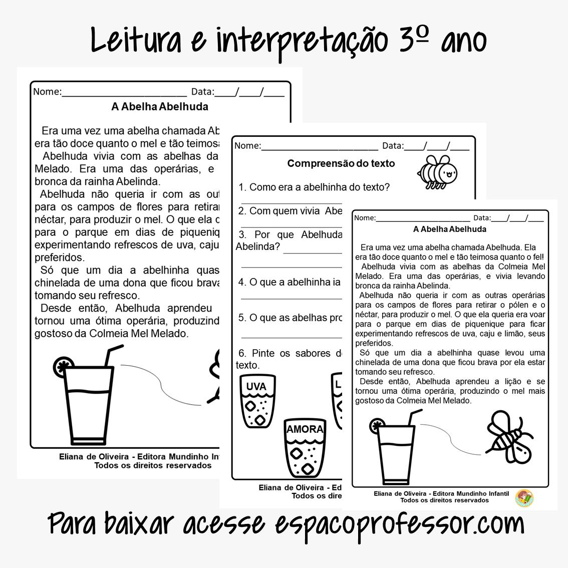 Atividades de português 3 ano A abelha Abelhuda em PDF