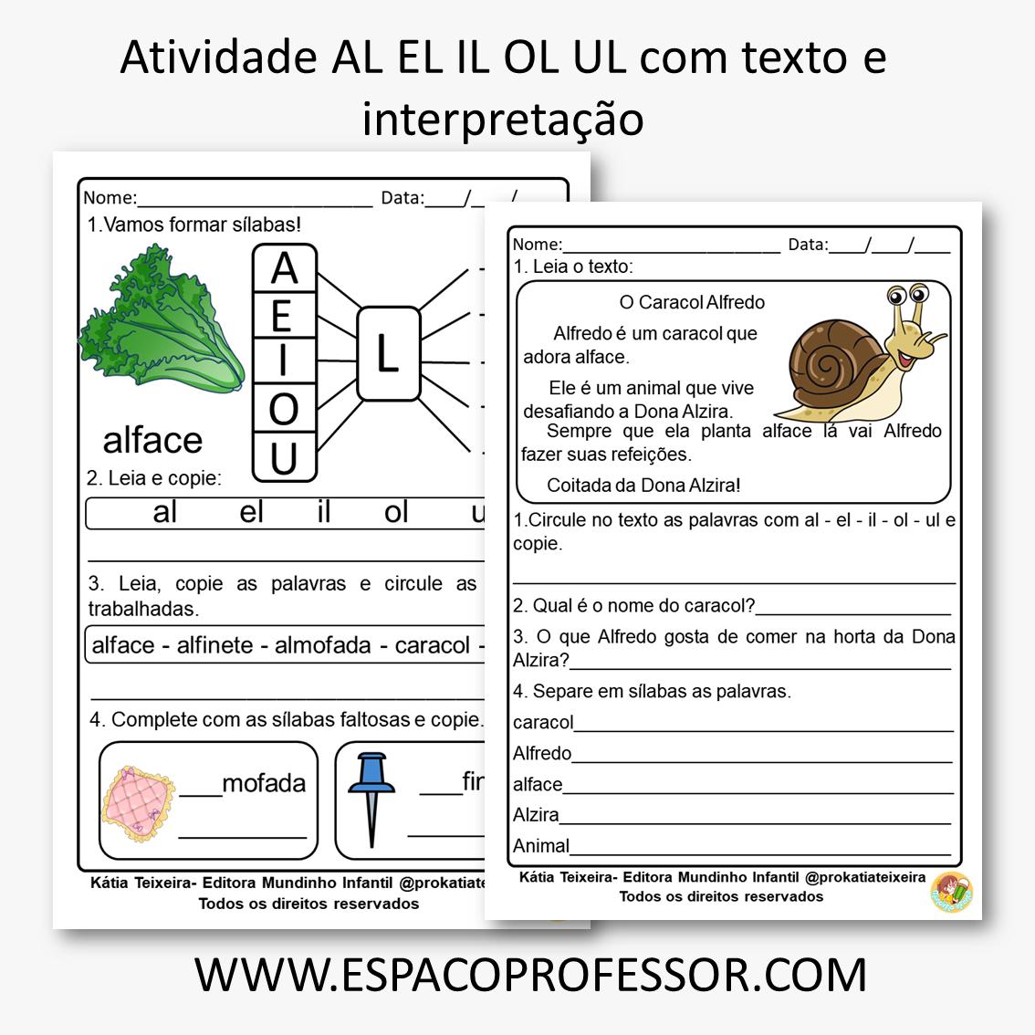 Atividade AL EL IL OL UL com texto e interpretação