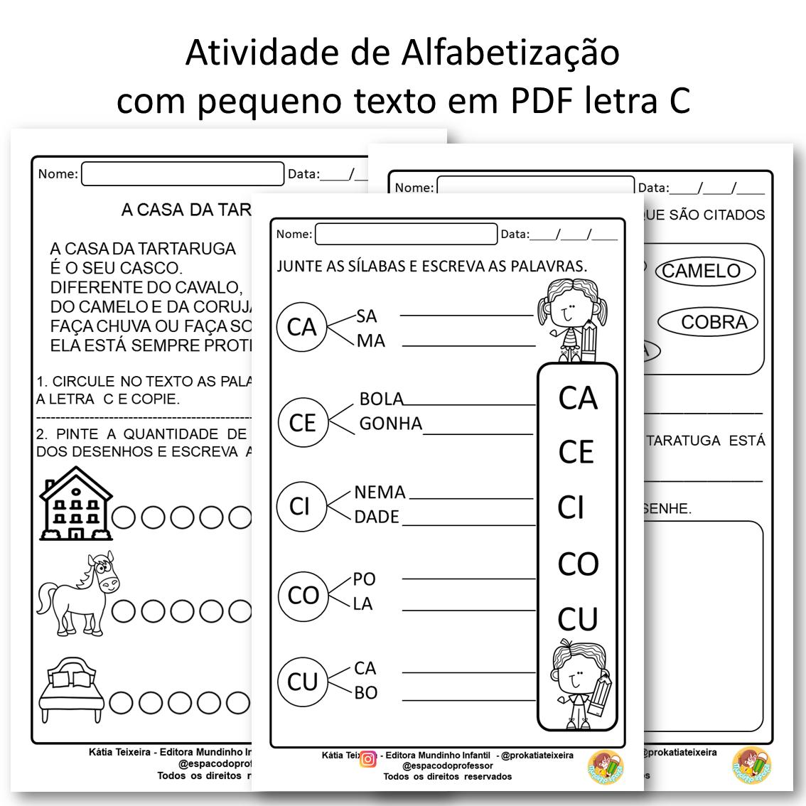 Atividades de Alfabetização com pequeno texto em PDF letra C