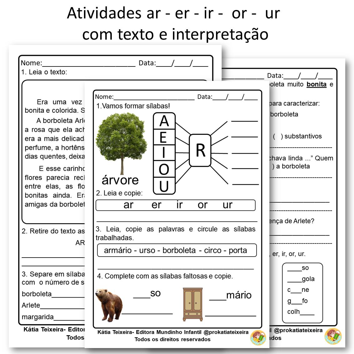 Atividade AR ER IR OR UR com texto e interpretação